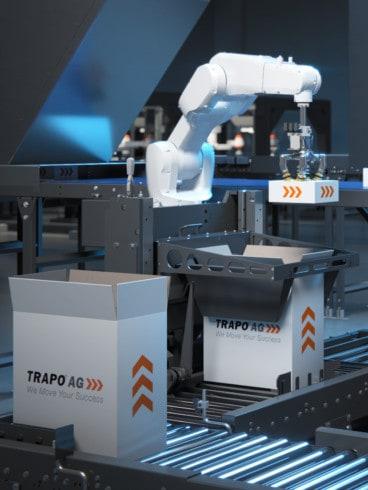 Exaktes positionieren von Produkten in bereitgestellte Kartons durch Knickarmroboter.
