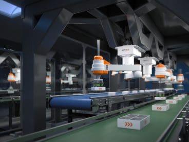 Pickerlinie: Kinematik-Picker setzen Produkte passgenau in vorgegebene Trays.