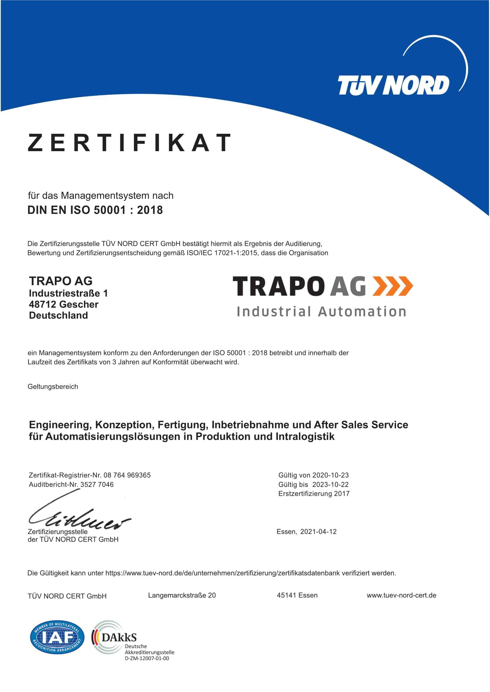ISO 50001 Zertifikat