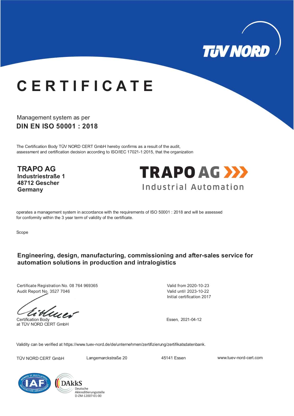 ISO 5001 certificate