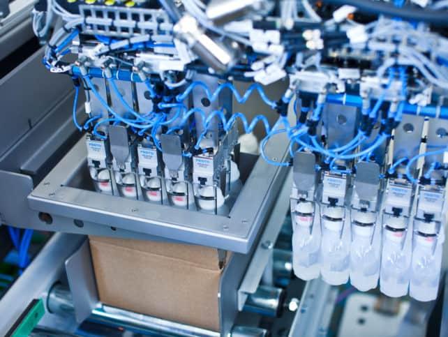 Flaschen werden in Kartons gesetzt
