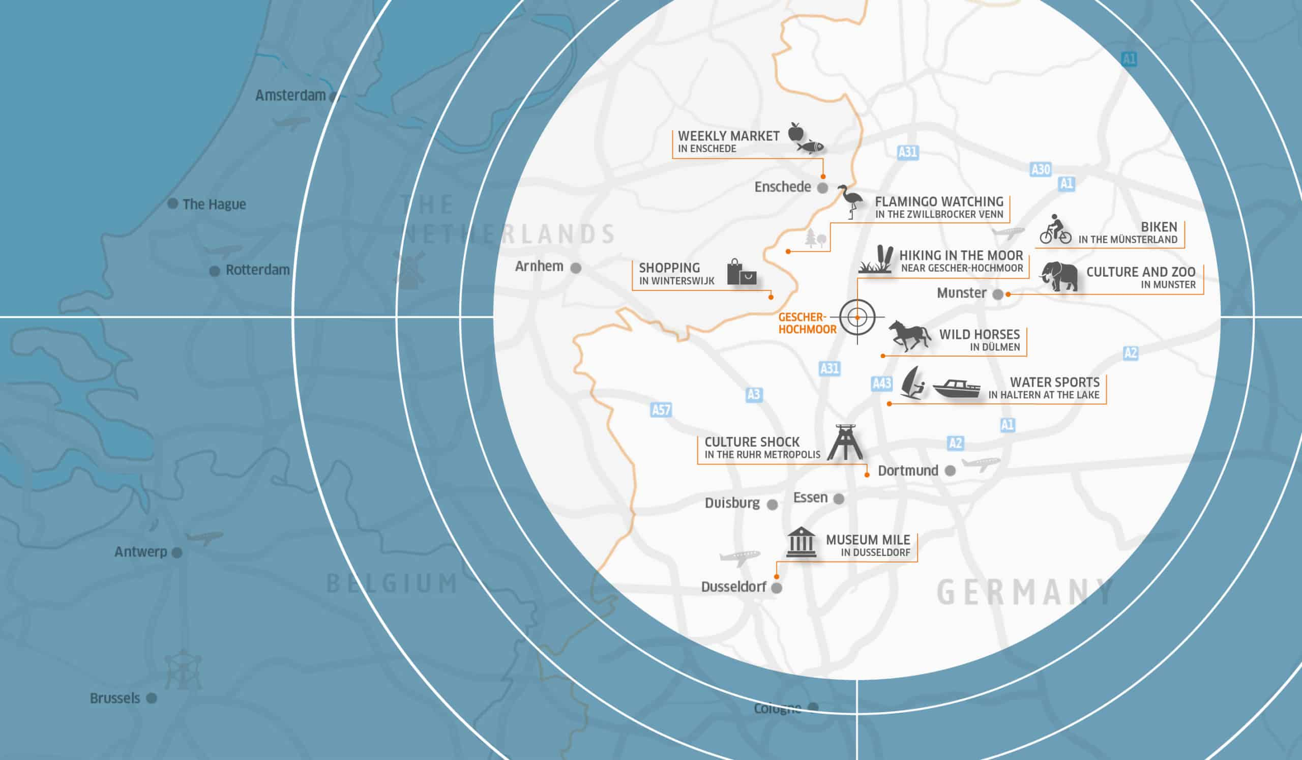 Map of activities near Gescher